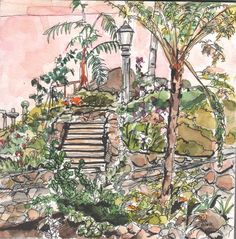 Original watercolor with pen and ink of Zoro Garden in Balboa Park, San Diego