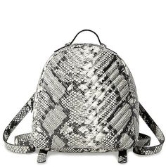 Steve Madden Bjosie Backpack ($88) ❤ liked on Polyvore featuring bags, backpacks, natural snake, white backpack, faux-leather backpacks, knapsack bag, steve madden bags and fake bags