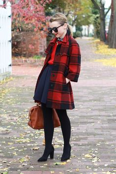 Poor Little It Girl - Red Buffalo Check Coat, Navy Skater Skirt, Red Sweater and Black Sunglasses Oversized Sweater Outfit, Turtleneck T Shirt, Sweater Outfits, Preppy Fall Outfits, Girly Outfits, Skirt Outfits, Trendy Outfits, Flannel Coat, Plaid Coat