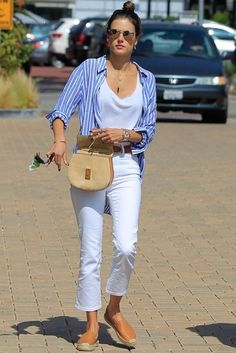 Alessandra Ambrosio wearing Chloe Drew Bag in Beige/Caramel, Soludos Leather Platform Smoking Slippers in Tan and Rails Charli Striped Button Down Shirt in Bluebell