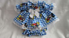 """Mickey Mouse Print Dress/bloomers, fits 12"""" Corolle Tidoo dolls and others"""