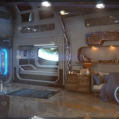 Simple interior hours of work Spaceship Interior, Futuristic Interior, Futuristic Art, Futuristic Architecture, Cyberpunk Aesthetic, Cyberpunk Art, Spaceship Concept, Sci Fi Ships, Environment Concept Art