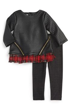 Pippa & Julie Quilted Faux Leather Top & Leggings (Toddler Girls & Little Girls)