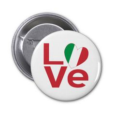 "Fun design on button pin from @AuntieShoe shows how much #love and pride you have in your #Italian heritage, culture and ancestry. Travelers will like ot to recall a trip, vacation or holiday to Italy. Features the word ""LOVE"" with a heart-shaped Italian Flag for the ""O"". Viva Italia! For more stuff like this, go to http://www.zazzle.com/flagnation"