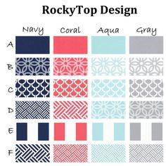 Coral, Aqua, Navy and Gray Custom Crib Bedding - Bekko