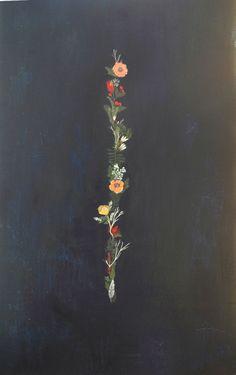 britt hermann - acrylic on masonite - floral band
