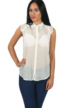 Meet the sleeveless jeans blouse! How cute is this blue and white ...