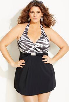 Plus Size Zebra Foil Halter Swim Dress | Plus Size Swim Dresses | Avenue