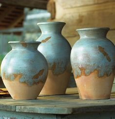 Rustic Pottery & Vases at Black Forest Decor Southwestern Home, Southwestern Decorating, Southwest Decor, Southwest Style, Southwestern Paintings, Western Paint Colors, Forest Decor, Rustic Kitchen Design, Rustic Kitchens