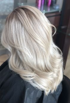 Stunning cool icy blonde, melted roots, blonde