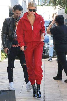 Sofia Richie red sweatsuit