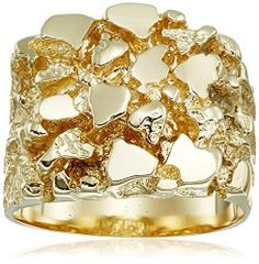 Men's 14k Solid Yellow Gold Nugget Diamond-Cut Ring, Size 9