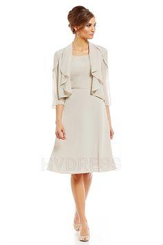 A-Line/Princess Scoop Knee-length Chiffon Mother of the Bride Dress Short Dresses, Dresses For Work, Jacket Dress, Mother Of The Bride, Fashion Forward, Chiffon, Gowns, Wedding Dresses, Pretty