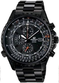 Casio Edifice Black Collection Chronograph Mens Watch Stainless Steel Band - Casio EF527BK-1 Casio. $229.95. 44mm Case Diameter. 100 Meters / 330 Feet / 10 ATM Water Resistant. Mineral Crystal. Analog Quartz Movement