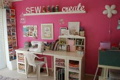 modern looking small sewing room-