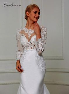 C.V Sheer Boat Neck Hollow Back Elegant Mermaid Wedding Dress With Lace  Embroidery Appliques Beading Sashes Bridal Dresses W0205 5403e9e54908