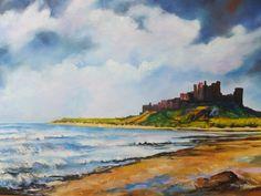 Beautiful painting of Bamburgh Castle ❤ Grey Skies, Online Gallery, Beautiful Paintings, Blue Grey, Castle, Sky, Tweed, Heaven, Heavens
