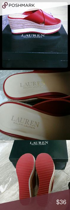 """Lauren Ralph Lauren Platform Sandals Lauren Ralph Lauren 3"""" platform Sandals. Red, white and tan colors 100% Leather.  Super comfortable. Worn Once for a couple of hours. Not accepting Low Ball Offers at this moment Lauren Ralph Lauren Shoes Sandals"""