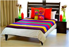 Not only are they warm but Ndebele blankets make for excellent covers and throws. They bring colour to any room. Bedroom Night Stands, Married Woman, African Fashion, Nightstand, Blankets, Palette, Colour, Warm, Furniture