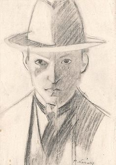 """Philip Naviasky: """"Self portrait, Signed Charcoal 12 in.): Self Portrait circa 1945 (Russell Cotes Museum) With thanks to David Wade. Charcoal Drawing, The Twenties, Modern Art, Male Portraits, Museum, Drawing Art, Drawings, Sketch, Portrait"""