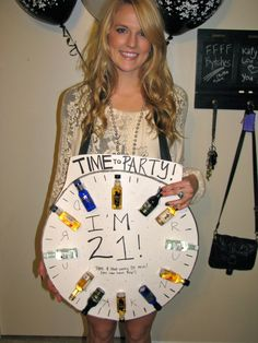 21st Birthday Drinking Clock! It would be cuter if you had to drink these on each hour.. Remember I like fruity drinks!!!!! (for example: malibu, passionfruit drinks, goldshclagger)