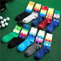 5 pairs/lot multicolor Men's socks British Style Plaid Gradient Color brand elite long cotton happy men wholesale Rhombus socks