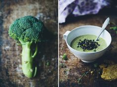 creamy broccoli soup topped with lemony beluga lentils. from greenkitchenstories.com