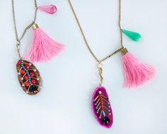 Pink stone and tassel botanic necklace