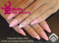 Nails with Gelpolish Baby Pink (103252) en Glitter Smile Line Deep French White (118414) by Nicolle Nail Academy
