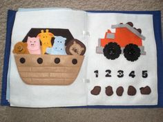 Noah's ark page and a dump truck page with a count-the-rocks game
