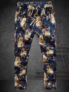 Straight Leg Lace-Up Plus Size Floral Nine Minutes of Pants For Men