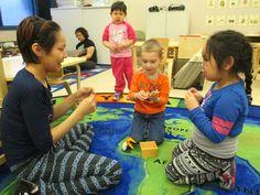 ECE student Masiva Pewatoalook, left, plays with preschoolers Richard Beckett…