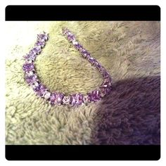 """0.925 Sterling Purple & Clear CZ Tennis Bracelet This Is A Really Pretty Large 7 1/2"""" Tennis Bracelet That's All 0.925 Sterling -& Hallmarked On The Clasp, It Has Purple & Cz's Alternating Squar And Rounds, It Has A Safety Clasp Feature To Prevent Falling Off The Wrist, ReLly A Very Pretty Bracelet And Is Weighty You Can Feel The Weight, 17.9 Grams Of All Real Sterling Silver, Perfect For  A 7-7 1/4"""" Wrist, Thanks!!, Unsure Jewelry Bracelets"""