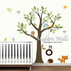 Wand Aufkleber Vinyl Wandtattoo Baum mit Schaukel von Modernwalls