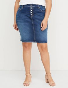 5677ae380839b Lane Bryant Washed Black Denim Skirt - Exposed Button Fly in 2019 ...
