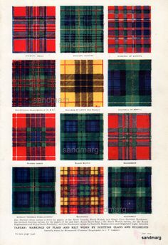 An incredible chart and double-sided too, this 1920 chart features the Tartans of Scottish Clans and regiments. Yae have tae love the tartan plaedie!