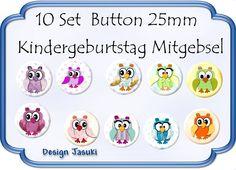 10 Set Button Eulen,Kindergeburtstag Mitgebsel von Jasuki auf DaWanda.com
