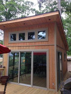 exterior sliding glass door on modern shed design ideas