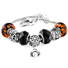 Pugster Halloween Skull Spider Jack_ O_ Lantern Pumpkin Dangle Set Heart Love Beaded Bracelet Fit All Brands