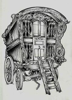 Gypsy Wagon Tattoo ~Artist: Jon Case~