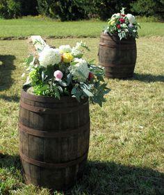 Vermont Flowers, Wedding in Vermont, #whiskybarrels #outdoorceremony via floralartvt.com