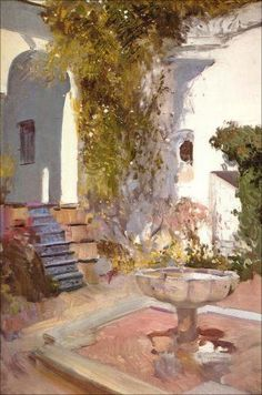 Corner of the Grutesco of Alcázar, Seville - Joaquin Sorolla y Bastida… Time Painting, Painting & Drawing, Traditional Paintings, Traditional Art, Georges Seurat, Renoir, Mary Cassatt, Spanish Art, Spanish Painters