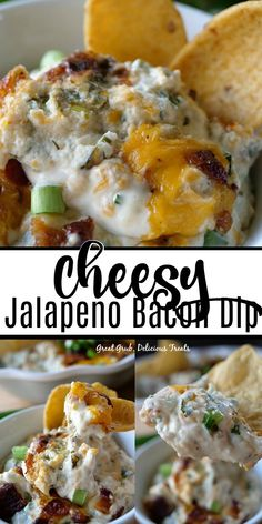 Cheesy Jalapeño Bacon Dip - Great Grub, Delicious Treats- Cheesy Jalapeño Bacon Dip is super flavorful, loaded with cheese and bacon, a bit of spice, then served hot with corn chips or tortilla chips. A delicious appetizer for game day. Appetizer Dips, Yummy Appetizers, Appetizer Recipes, Finger Food Appetizers, Beer Cheese, Cheese Chips, Dip Recipes, Snack Recipes, Cooking Recipes