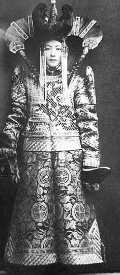 Mongolian Woman in Their Traditional Costumes in the early 1900s