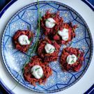 Try the Beet Latkes with Chive Goat Cheese Recipe on williams-sonoma.com/