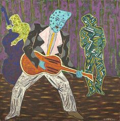 """Francis X. Pavy (American/Louisiana, b. 1954) """"Blue Headed Rock & Roll Singer"""", 1988, oil on canvas, signed, dated and with artist's copyright lower right """"Pavy '88"""", titled, dated and signed on canvas verso, 24"""" x 24"""".  Unframed."""