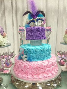 A fabulous Masquerade Soft Colors Quinceañera cake! See more party ideas at CatchMyParty.com