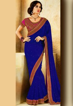 #Blue Faux Chiffon #Saree with Blouse