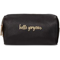 Neiman Marcus Hello Gorgeous Cosmetic Case (520 MXN) ❤ liked on Polyvore featuring beauty products, beauty accessories, bags & cases, black, travel kit, dop kit, purse makeup bag, toiletry bag and makeup purse