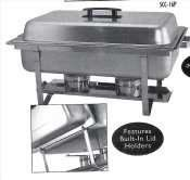 Update International SCC-16P Stainless Steel Stackable Chafer with Plastic Handle, 8-Quart by Update International. $55.19. Stackable chafer made of 18/8 stainless steel with a mirror-polished finish. The chafer includes a water pan, fuel holders, dome cover and stand. It has 8-quart capacity; comes in rectangular shape with removable cover. Features built-in lid holder, plastic handle and sturdy stackable rack for space saving storage. It is heated using canned fuel. This stack...